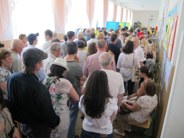 At a crowded polling station in Shevchenko District, Kyiv, 25 May
