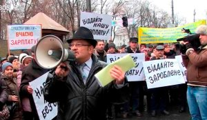 Kyiv passenger transport workers striking to get their wages paid
